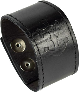 Leather Anchor Cuff Bracelet