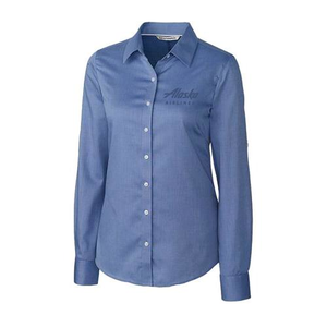Women's Cutter & Buck Mini Herringbone Dress Shirt