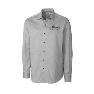 Cutter & Buck Mini Herringbone Dress Shirt - Alaska Airlines