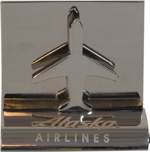 Alaska Airlines Chrome Airplane Business Card Holder