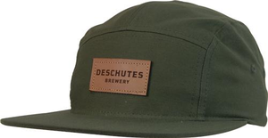 Deschutes Brewery 5-Panel Leather Strapback Hat - Flat Bill