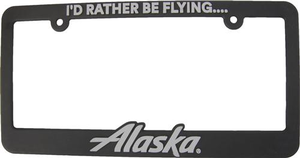 """Alaska Airlines """"I'd Rather be Flying"""" License Plate Frame"""