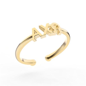 Nava New York Thin Band Letter Ring - Alpha Chi Omega