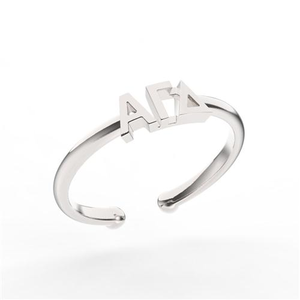 Nava New York Thin Band Letter Ring - Alpha Gamma Delta