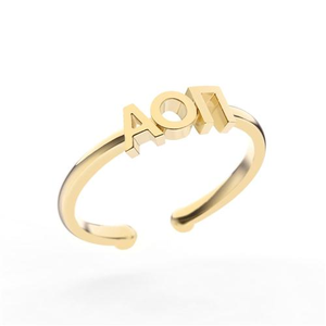Nava New York Thin Band Letter Ring - Alpha Omicron Pi