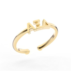 Nava New York Thin Band Letter Ring - Alpha Xi Delta