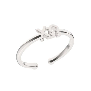 Nava New York Thin Band Letter Ring - Chi Omega