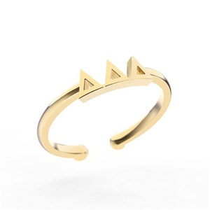 Nava New York Thin Band Letter Ring - Delta Delta Delta