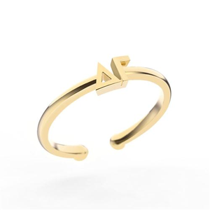 Nava New York Thin Band Letter Ring - Delta Gamma