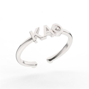 Nava New York Thin Band Letter Ring - Kappa Alpha Theta