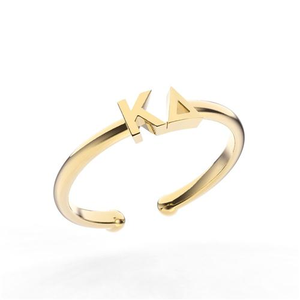 Nava New York Thin Band Letter Ring - Kappa Delta