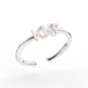 Nava New York Thin Band Letter Ring - Kappa Kappa Gamma