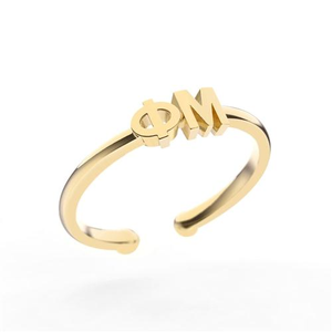 Nava New York Thin Band Letter Ring - Phi Mu