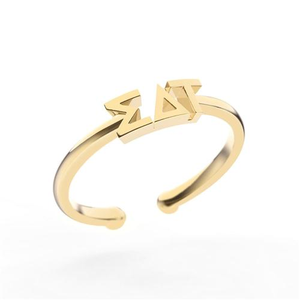 Nava New York Thin Band Letter Ring - Sigma Delta Tau