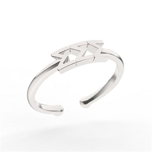 Nava New York Thin Band Letter Ring - Sigma Sigma Sigma