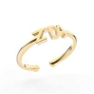 Nava New York Thin Band Letter Ring - Zeta Tau Alpha