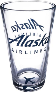 Alaska Airlines 16oz Pint Glass with Airplane