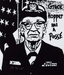 "2"" x 2.35"" Grace Hopper has a Posse Sticker"