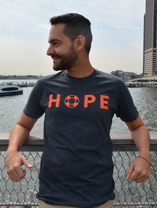 Unisex Charcoal HOPE Crewneck with Poppy Lettering