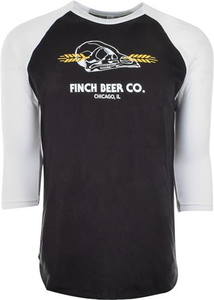 Finch Beer Skull Logo Baseball Tee