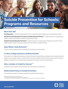 Suicide Prevention for Schools: Programs and Resources Flyer
