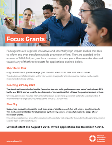 2018 Focus Grants Flyer