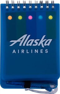 Alaska Airlines Spiral Jotter With Sticky Notes, Flags & Pen